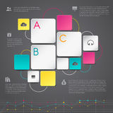 Business 3D infographic paper background template layout design. In geometric shape with icons and graph, create by vector Stock Photos