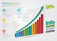 Business 3D line chart infographic. Business report creative mar Stock Photography