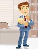 Business dad in the office with  sleeping  child Royalty Free Stock Photos