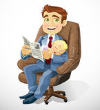 Business dad with sleep baby in an office chair Royalty Free Stock Image
