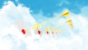 Business darts. Clouds goal. Golden arrow - dollar Stock Photo