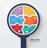 Business data analysis infographic 6 colorful pieces. Vector illustration Royalty Free Stock Photography