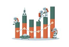 Business and data analysis statistics concept with characters flat illustration stock illustration