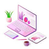 Isometric illustration of a laptop and tablet. perfect vector design for business data analysis and workplace concept. royalty free stock photo