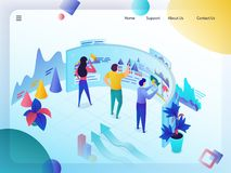 Business Data Analysis Technologies Vector Concept. Business Data Analysis Isometric Vector Web Banner or Landing Page. Experts Analyzing Profitable Graphs, Sale stock illustration