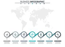 Business data, chart. Abstract elements of graph, diagram with 7 steps, strategy, options, parts or processes. Vector. Business template for presentation Royalty Free Stock Images