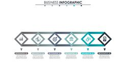 Business data, chart. Abstract elements of graph, diagram with 6 steps, strategy, options, parts or processes. Vector Royalty Free Stock Photos