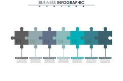 Business data, chart. Abstract elements of graph, diagram with 7 steps, strategy, options, parts or processes. Vector. Business template for presentation stock illustration