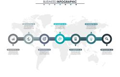 Business data, chart. Abstract elements of graph, diagram with 7 steps, strategy, options, parts or processes. Vector. Business template for presentation Stock Photography