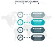 Business data, chart. Abstract elements of graph, diagram with 4 steps, strategy, options, parts or processes. Vector. Business template for presentation stock illustration