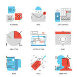 Business data and communication line icons set stock illustration