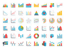 Business data elements dot bar pie charts graphs. Business data market elements dot pie bar charts diagrams and graphs flat icons set. Statistic and data Royalty Free Stock Images