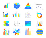 Business data elements. Business data market elements dot bar pie charts diagrams and graphs flat icons set. Can be used for info graphics, graphic or website Stock Photography