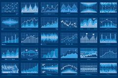 Business Data Financial Charts Blue Banner Royalty Free Stock Photo