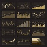Business data financial charts. Stock analysis graphics on black background. Business data financial charts. Stock analysis graphics market on black background Royalty Free Stock Photos