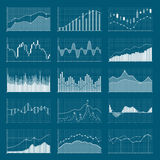 Business data financial charts. Stock analysis graphics. Growing and falling market graphs vector set. Collection of visualization finance chart and diagram Royalty Free Stock Image