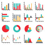 Business data graph diagram element. Set of business data graph diagram element, pie, bar, line chart icon information for infographics Royalty Free Stock Photography