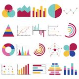 Business data graphs. Financial and marketing charts. Market elements dot bar pie charts diagrams and graphs. Business. Infographic flow sheet diagram. Flat Stock Photography