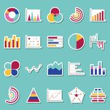 Business data graphs stickers icons. Financial and marketing charts stickers. Market elements dot bar pie charts. Diagrams and graphs. Business infographic flow Stock Images