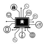 Business data has been encrypted. malware attack  Stock Images