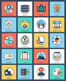 Business and Data Management Flat Icons Set royalty free illustration