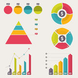 Business data market elements. Collection of flat infographics elements. Colorful set template. vector illustration. Collection of flat infographics elements Stock Photos