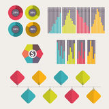 Business data market elements. Collection of flat infographics elements. Colorful set template. vector illustration. Collection of flat infographics elements Royalty Free Stock Photo