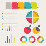 Business data market elements. Collection of flat infographics elements. Colorful set template. vector illustration. Collection of flat infographics elements Royalty Free Stock Photography