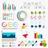 Business data market elements dot bar pie charts diagrams and gr Royalty Free Stock Photography