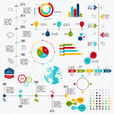 Business data market elements dot bar pie charts diagrams and gr Stock Photos