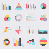 Business data market elements dot bar pie charts diagrams and gr. Aphs flat icons set. Can be used for info graphics, graphic or website layout vector, numbered Royalty Free Stock Photo