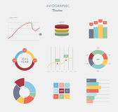 Business data market elements dot bar pie charts diagrams and graphs flat design. Royalty Free Stock Images