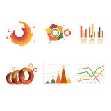 Business data market elements dot bar pie charts Stock Photo