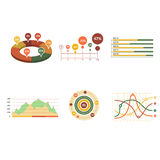 Business data market elements dot bar pie charts Stock Photos
