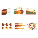 Business data market elements dot bar pie charts Royalty Free Stock Images
