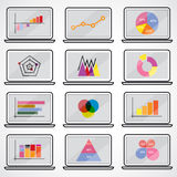 Business data market elements dot bar pie charts diagrams.Graphs Royalty Free Stock Photography