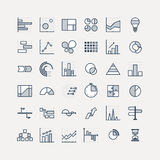 Business data market elements dot pie bar charts diagrams and graphs flat icons set. Statistic and data, information stock illustration