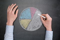 Business Data - Pie Chart on Blackboard Royalty Free Stock Photography
