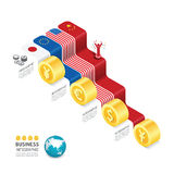Business data process chart. Abstract elements of graph. stock illustration