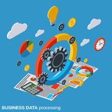 Business data processing vector concept. Business data processing flat isometric vector concept illustration Royalty Free Stock Image