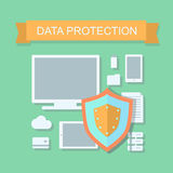 Business data protection and cloud network security  illustration.  flat design concept Royalty Free Stock Image