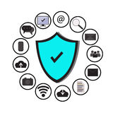 Business data protection technology and cloud network security, icons set ,blue, white background. Stock Photo