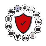 Business data protection technology and cloud network security, icons set vector,blue, white background. Stock Image