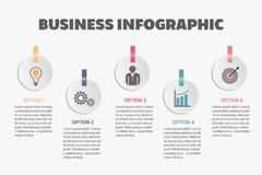 Business infographic template. Business data visualization. Abstract elements of graph, diagram with steps, options, parts or processes. Vector business Stock Images