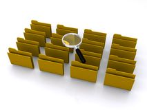 Business database concept. Magnifying glass on the top of a group of brown folders, business database concept Stock Image