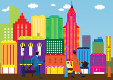 Business day in the city. Geometric Illustration of a Business day in the cityin Royalty Free Stock Image