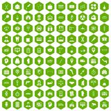 100 business day icons hexagon green. 100 business day icons set in green hexagon isolated vector illustration stock illustration