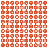 100 business day icons hexagon orange. 100 business day icons set in orange hexagon isolated vector illustration royalty free illustration