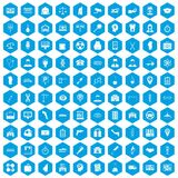 100 business day icons set blue. 100 business day icons set in blue hexagon isolated vector illustration Stock Photography