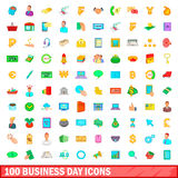 100 business day icons set, cartoon style. 100 business day icons set in cartoon style for any design illustration Royalty Free Stock Images